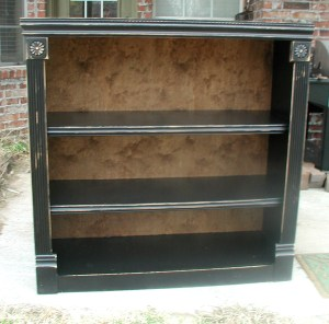 finished black bookshelf
