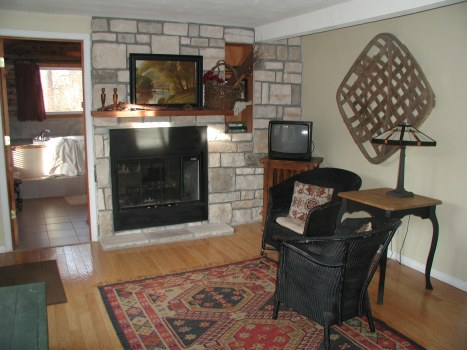 second stone fireplace
