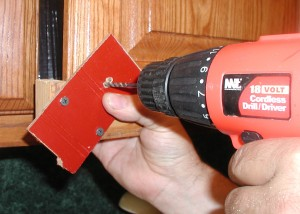 front of jig with drill