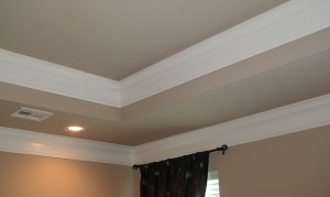 crown molding at two ceiling heights tray ceiling