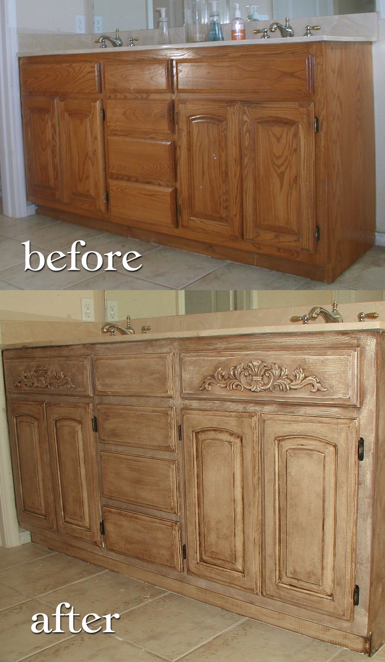 Project Transforming builder grade cabinets to Old World ASCP Old White wit