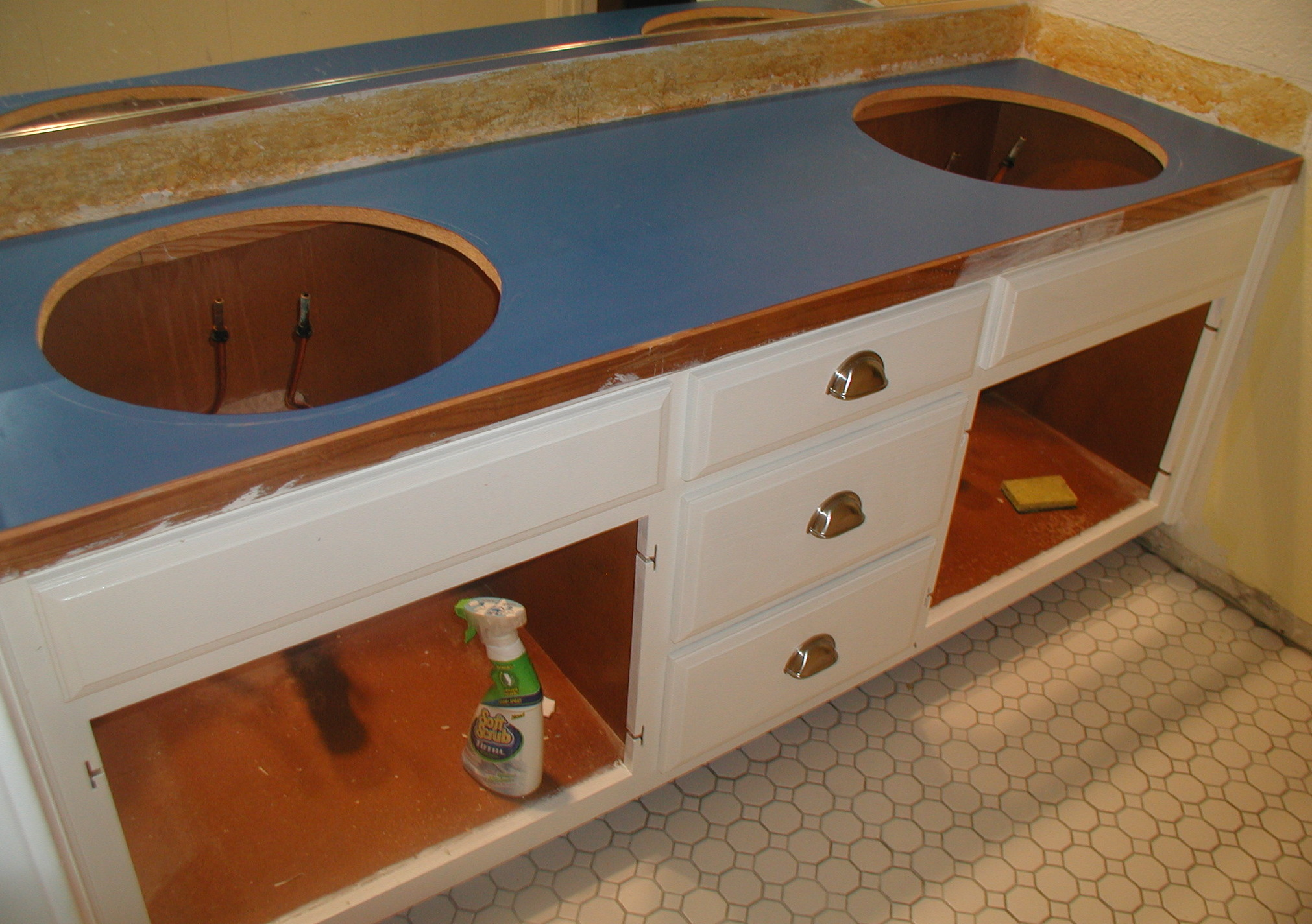 Project bathroom vanity with laminate over laminate for Replace bathroom countertop