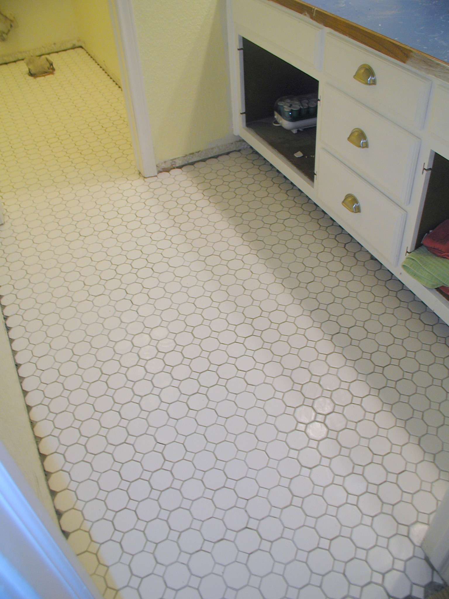 Project tiling the bathroom floor front porch cozy for Tiles for kids bathroom