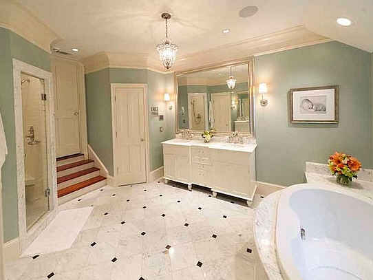 Master bathroom lighting front porch cozy major sparkley chandelier the vanity lights seem a bit weak but the room has canned lighting too aloadofball Images