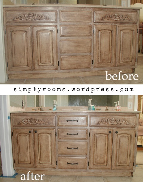 Project transforming builder grade cabinets to old world ascp old white with dark walnut glaze - Painting bathroom cabinets brown ...