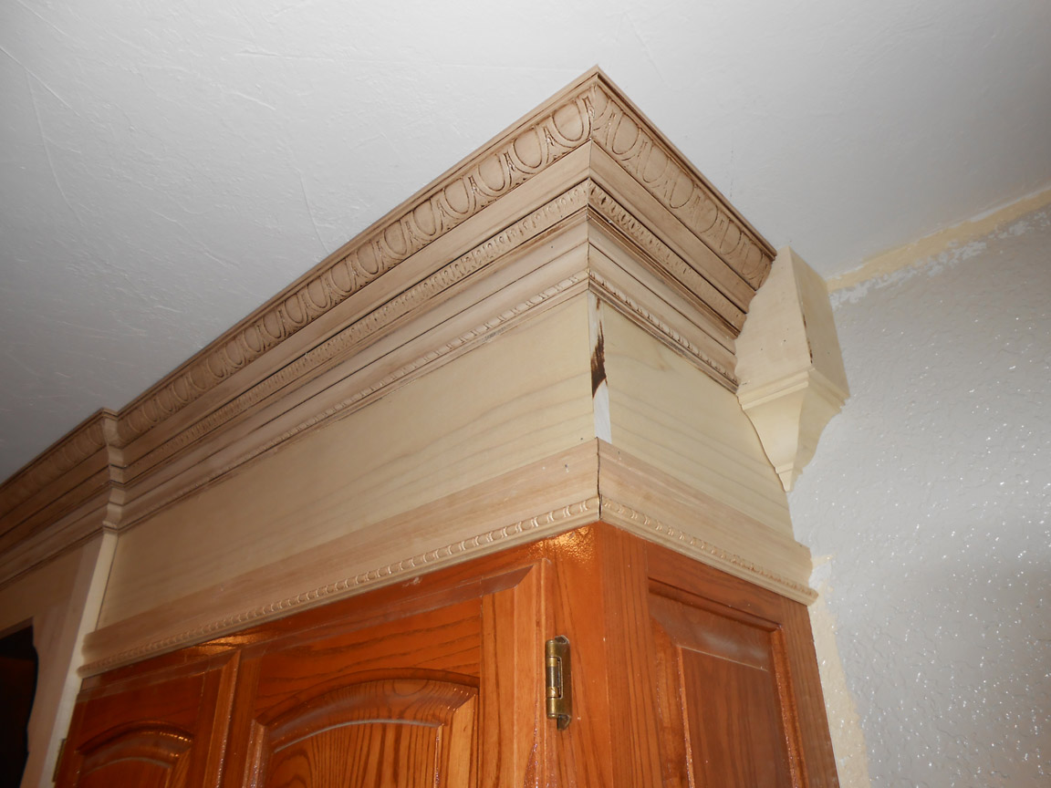 Project making an upper wall cabinet taller kitchen for Oak crown molding for kitchen cabinets