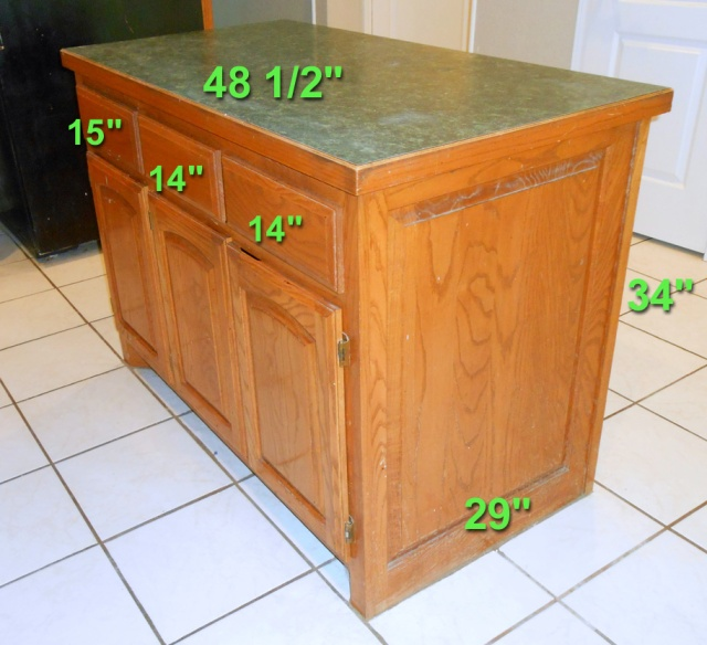 kitchen island before drawer side dimedsions