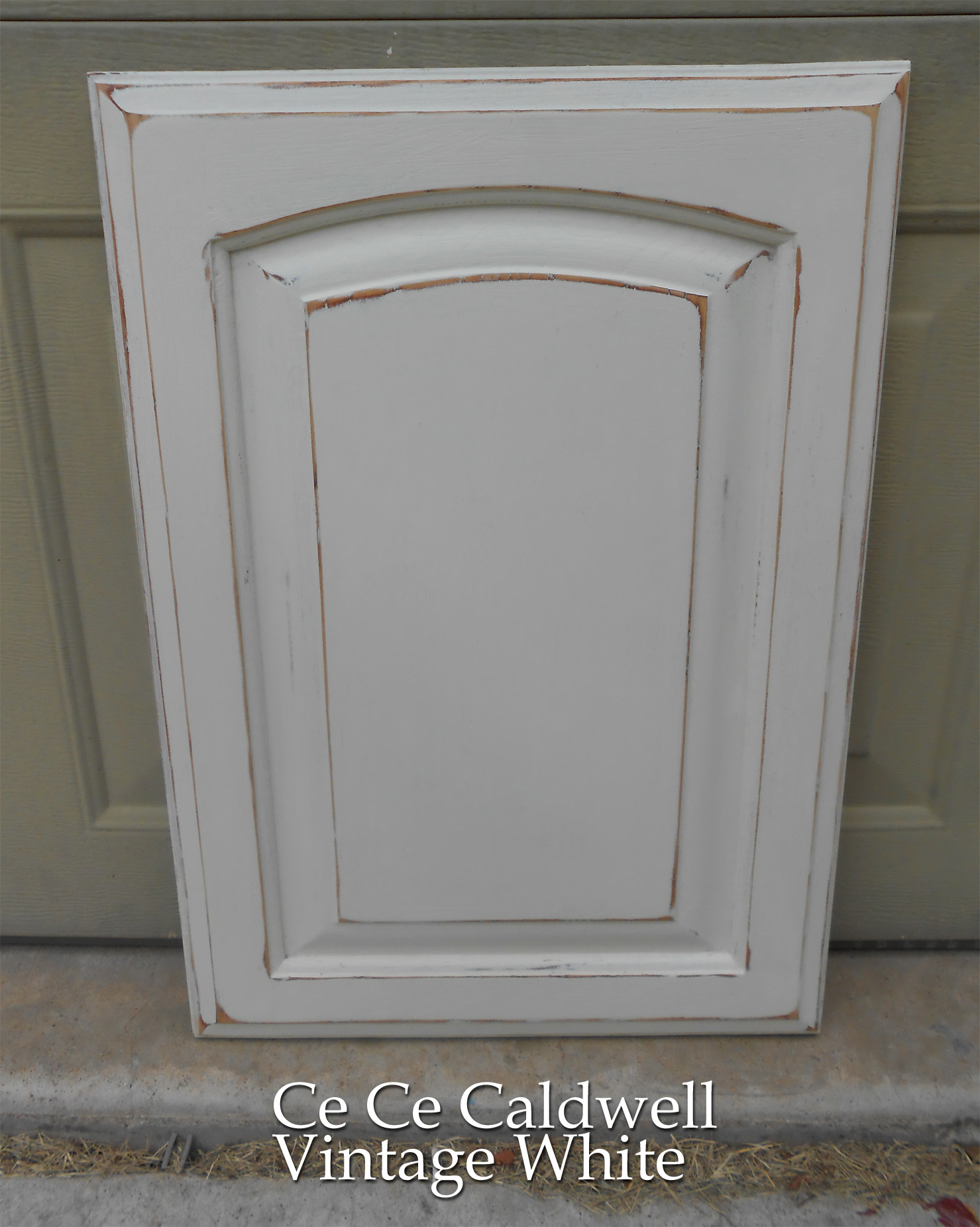 Using Chalk Paint for Oak Kitchen Cabinets test door – Front