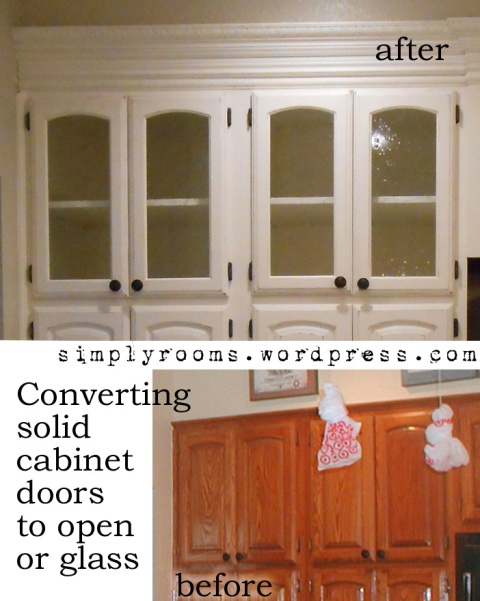 Diy changing solid cabinet doors to glass inserts front for Diy glass cabinet doors