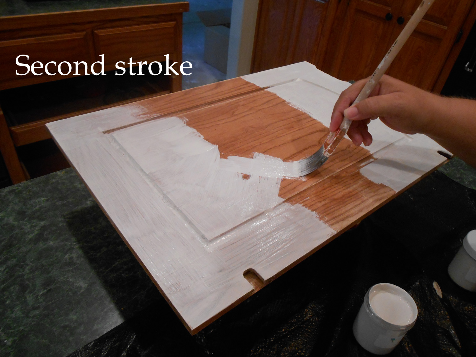 Using Chalk Paint for Oak Kitchen Cabinets (test door) – Front Porch ...